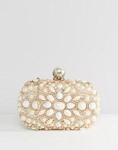 Read more about Aldo beaded box clutch with pearl clutch bag - gold