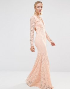 Read more about City goddess long sleeve open back lace maxi dress - pale pink