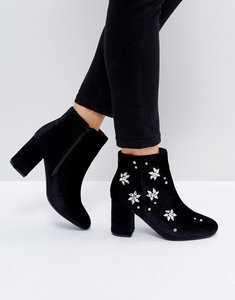 Read more about Asos rosalie embellished heeled boots - black