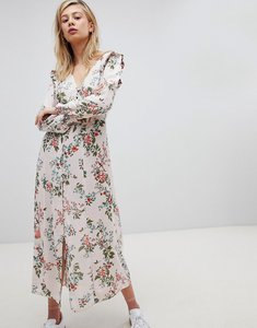 Read more about New look button front floral printed maxi tea dress - pink print