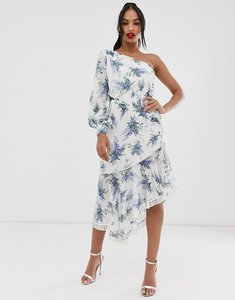 Read more about Asos design one shoulder midi dress in trailing floral print and lace inserts