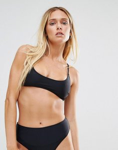 Read more about Missguided mix match cross back bikini top with metallic detail - black