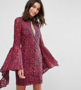 Read more about Asos tall fluted sleeve lace mini dress - red