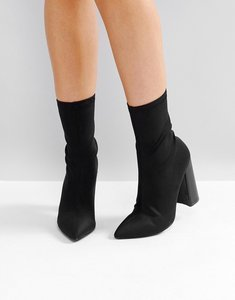 Read more about Public desire libby black high heeled sock boots - black