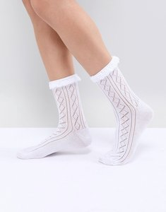 Read more about Asos design crochet lace frill ankle socks - white