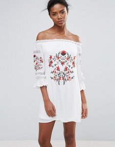Read more about Parisian off shoulder embroiderred dress - white