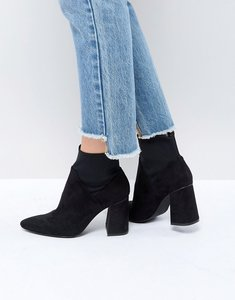 Read more about Stadivarius block heel sock boot - black