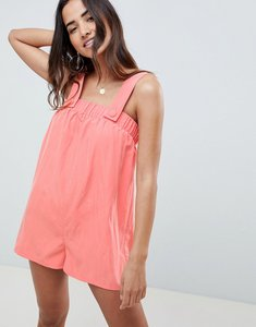 Read more about Asos design pinny playsuit in modal - coral