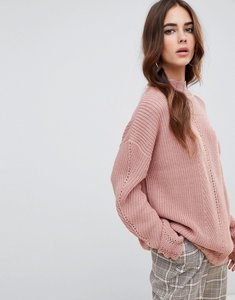 Read more about Fashion union high neck jumper in multi rib knit - pink