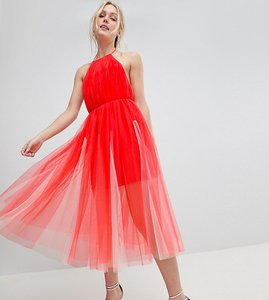 Read more about Asos design tall premium halter tulle godet midi dress - pink nude