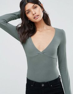 Read more about Asos body with plunge neck long sleeve and thong - khaki green