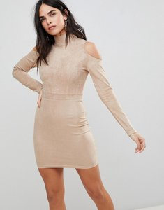 Read more about Ax paris cold shoulder long sleeve bodycon dress - stone