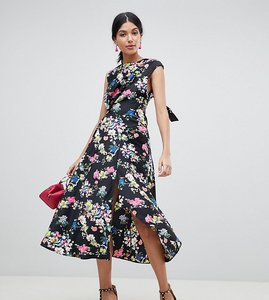 Read more about Asos design tall drape midi dress in floral print - multi