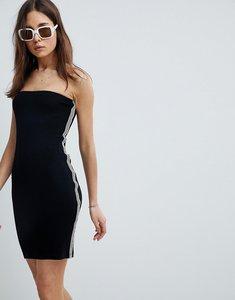 Read more about Asos design bandeau mini dress with sports stripe - black white