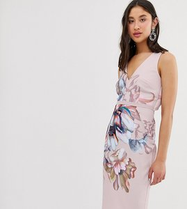 Read more about Little mistress tall plunge front pencil dress in over scale floral print
