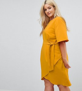 Read more about Closet london plus tie front dress with kimono sleeve - mustard