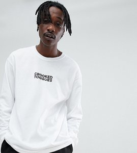 Read more about Crooked tongues long sleeve t-shirt with logo print in white - white