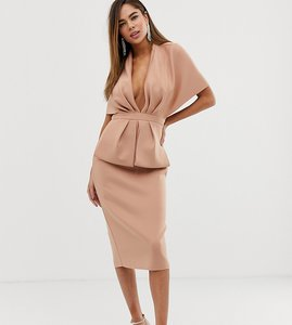 Read more about Asos design structured plunge kimono midi dress with peplum
