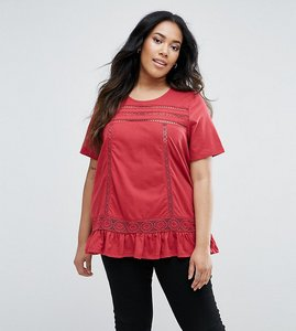 Read more about Junarose frill hem top with crochet insert - red