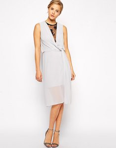 Read more about Asos drape midi dress with lace insert - grey black lace