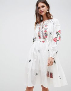Read more about French connection embroidered smock dress - summer white
