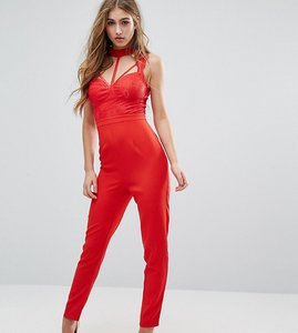 Read more about Missguided lace harness bra jumpsuit - red