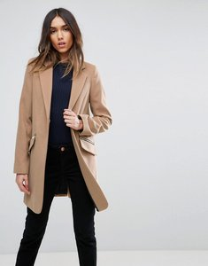 Read more about Asos slim boyfriend coat with zip pocket - camel