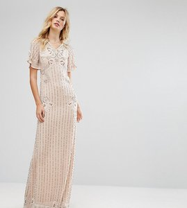 Read more about Frock and frill tall premium embellished maxi dress with fluted sleeve detail - nude
