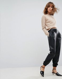 Read more about Asos low rise track pant in soft leather look - black