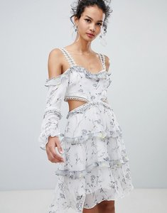 Read more about Glamorous cold shoulder floral midi dress - white grey ditsy