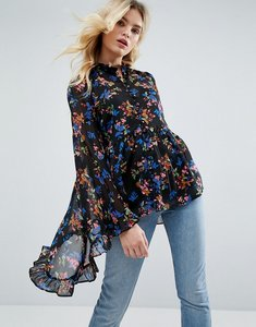 Read more about Asos kimono sleeve blouse in chiffon in dark floral - multi