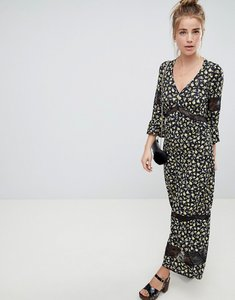 Read more about Asos design maxi tea dress in floral print with lace inserts - floral print