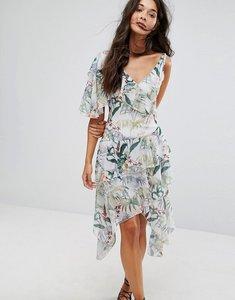 Read more about Miss selfridge tropical asymetric midi dress - multi
