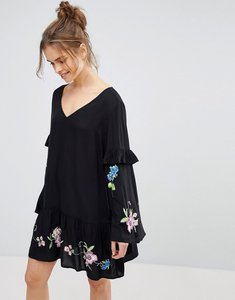 Read more about Asos ultimate mini embroidered smock dress - black