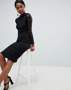 Read more about Club l crochet high neck scuba midi dress - black