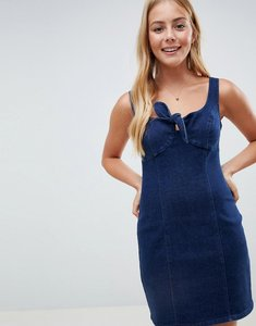Read more about Asos design denim tie front mini dress in darkwash blue - blue