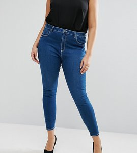 Read more about Asos curve high waist ridley skinny jean in hester wash - blue