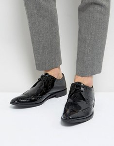 Read more about Frank wright brogue derby shoes in patent leather - black