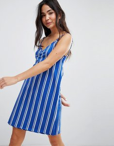 Read more about Monki wrap beach dress - blue stripes