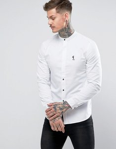 Read more about Religion shirt with grandad collar - white