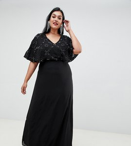 Read more about Lovedrobe luxe flutter sleeve embellished maxi dress - black