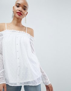Read more about Pieces spot off shoulder blouse - bright white