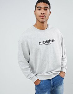 Read more about Asos design oversized sweatshirt with text print in grey - grey marl