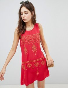 Read more about Glamorous sleeveless mini shift dress with contrast embroidery - red