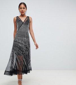 Read more about Asos design tall mesh embellished midi skater dress - black