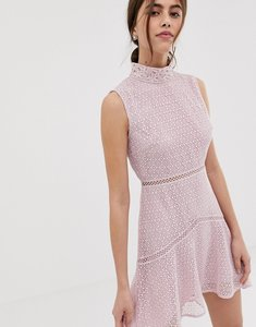 Read more about True decadence premium high neck lace midaxi dress with contrast trim in pink