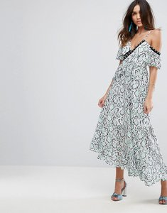 Read more about Asos premium lace ruffle maxi dress - multi