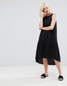 Read more about Asos trapeze midi smock dress in dobby - black