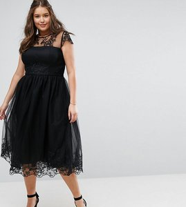 Read more about Chi chi london plus premium lace midi prom dress with lace neck - black
