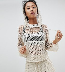 Read more about Ivy park mesh lace up cropped hoodie - beige